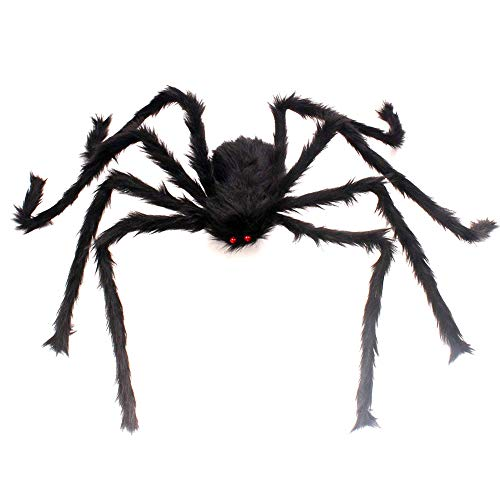 HAZOULEN 50 Inch Large Spider for Halloween Decoration (Black)