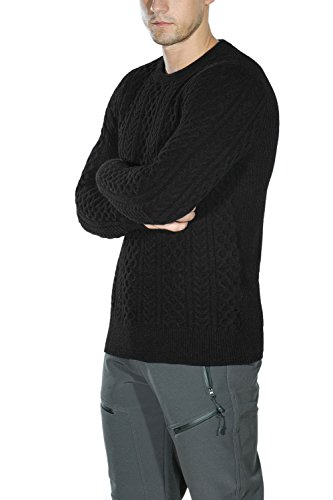 92aef97e Ninovino Mens Crewneck Sweater Cable Knit Long Sleeves Knitted Pullover  Black-M