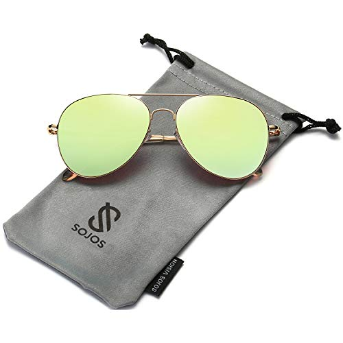 SOJOS Classic Aviator Mirrored Flat Lens Sunglasses Metal Frame with Spring Hinges SJ1030 with Gold Frame/Olivine Mirrored Lens