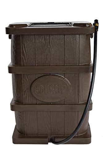 (FCMP Outdoor WG4000-BRN Wood Grain Rain Barrel, Brown)