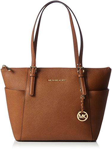 MICHAEL Michael Kors Jet Set Saffiano Top Zip Tote, Luggage (Light Blue Michael Kors Handbags)