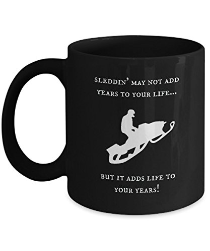 Snowmobile Mug - Sleddin' Adds Life To Your Years ! (Black) (Rc Arctic Cat Snowmobile compare prices)