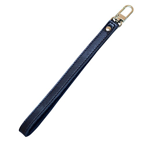 Nanafast Genuine Leather Gold Buckle Wrist Strap Replacement Hands-Free Wristlet for Wallets/Keychain/Clutch (Black)
