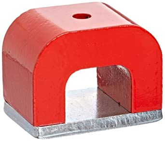 "Red Cast Alnico 5 Bridge Magnet With Keeper, 1.77"" Wide, 1.18"" high, 1.18"" Thick With 0.20"" hole on top (Pack of 1)"
