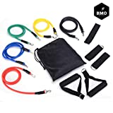 BMO Personal Home Gym 11 PC Resistance Band Set | for Abs, Glutes, Pilates, Beach Body | 80 Days Obsession | Physical Therapy | 170 LBS Resistance | Anti-Snap
