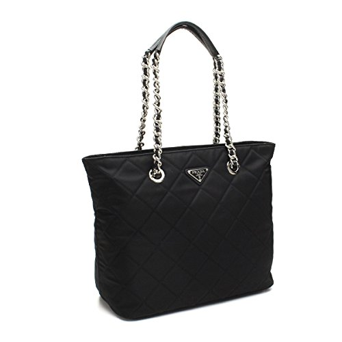 Prada Women's Black Quilted Tessuto Chain Shoulder Tote Bag - Handbag Prada Shoulder