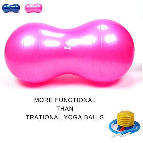 Wekin Physio Roll Therapy Fitness Exercise Ball with Pump/best for Balance & Coordinate Development,Extra Thick,best for Home Exercise Programme