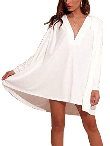 Jaycargogo Manches Longues Couleur Unie Des Femmes V Cou Mini Lâche Balançoire Robe Blanche