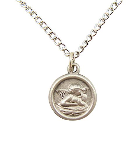Guardian Angel Pendant Necklace Round Pewter, 16 Inches