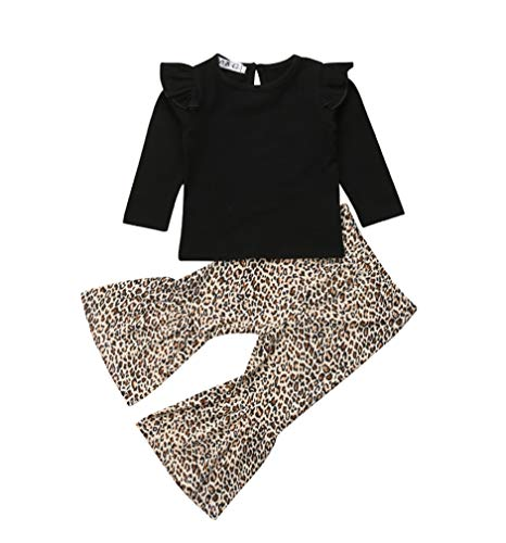 Baby Girls Lace Off Shoulder Ruffle T Shirt Top+ Leopard Print Bell Bottom Pant Outfits Sets (3-4T, Leopard(Black))