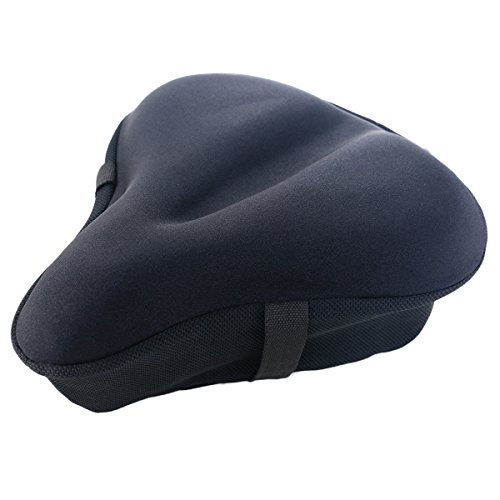 iGOODS Gel Bike Seat Cushion Cover for Men and Women, Updated Soft Wide Bike Bicycle Saddle Cushion Pad fits for Big Size Cruiser Stationary Seat,OutdoorSpinning Cycling Accessory Xmas Gift