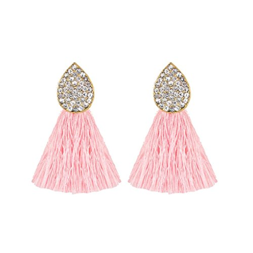 2018 Hot Sale! Paymenow Women's Stud Earrings Lovely Cute Jewelry Gifts Charms Oval Crystal Tassel Drop Earrings Jewelry Accessory (Pink)