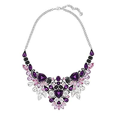 804d102c2 Swarovski Palladium Plated with Purple Crystals and Black Epoxy Impulse  Necklace 38 Centimetres Reference 5152821: Amazon.co.uk: Jewellery