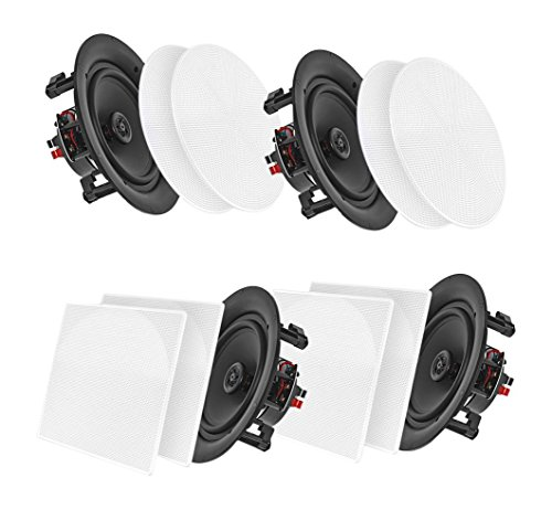 "Pyle 6.5"" 4 Bluetooth Flush Mount In-wall In-ceiling 2-Way Speaker System Quick Connections Changeable Round/Square Grill Polypropylene Cone & Tweeter Stereo Sound 4 Ch Amplifier 200 Watt (PDICBT266) by Pyle"