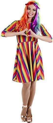 Amazon.com : Ladies Bright Rainbow Hippie Hippy Pride ...