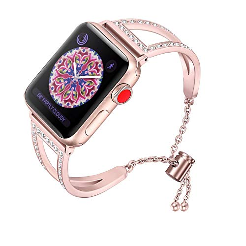 RUOQINI Compatible with Apple Watch Band,Jewelry Bangle Cuff Women Girls Adjustable Stainless Steel Bracelet for IwatchBands of Series 4/3/2/1,42mm 44mm SZ-A Rose ()