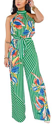Women's Sexy Sleeveless Jumpsuit Summer Elegant Turtleneck Backless Wide Leg Loose Long Pants Rompers Palazzo Casual Halter Neck Drawstring Outfits Strechalbe High Waist Waistband for Club
