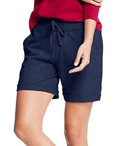 Hanes Womens French Terry Bermuda Pocket Short(O4681)-Navy-2XL