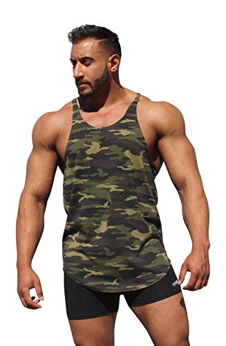 Physique Bodyware Camouflage Men's Y-Back Stringer Tank Tops. Made in USA. (2XL, Green Camouflage)