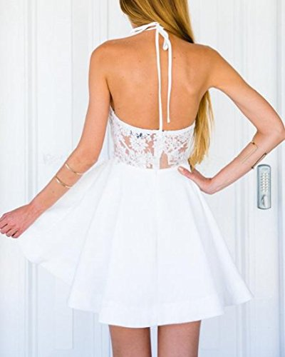 Mini Embroidery Womens White Waist Evenning Accept Dress Backless Coolred Mesh xTfnY6Bqq