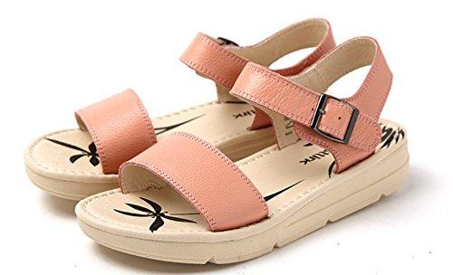 Cuero simple de verano/Con zapatos de punta abierta de la plataforma/Sandalias de las mujeres de color sólido B