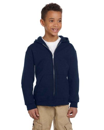 Champion Boys Big Powerblend Eco Fleece Full Zip Hoodie, Navy, S
