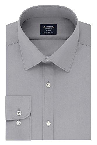 Arrow Men's Slim Fit Dress Shirt Poplin, Mercury, 17-17.5 Neck 32-33 Sleeve