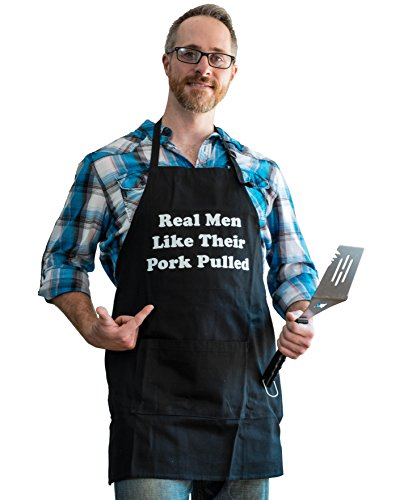 BBQ Bud, Men's Fun Grilling Apron: Real Men Like Their Pork Pulled (Black) -