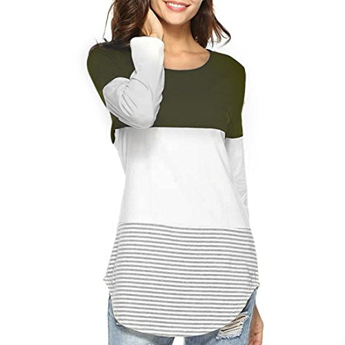 Manches Femme Col Longues Holywin Chemisier Uni Rond Militaire Vert qyIwc17UT