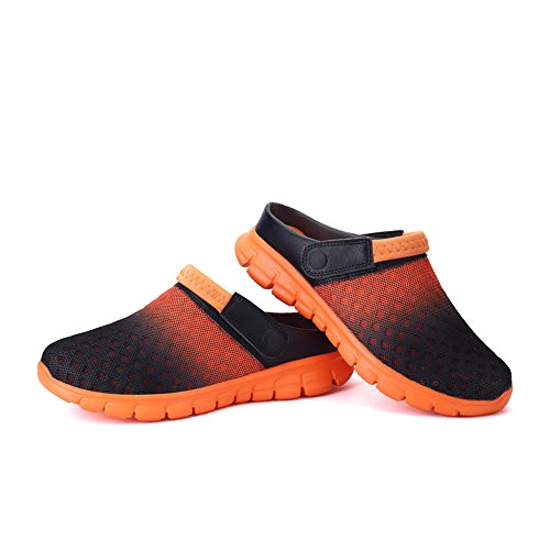 Herren Beach Sandalen Pantolette DADAZE Sommer Atmungsaktiv Slip Mesh Damen on Schuhe Clogs Orange Hausschuhe 4Pzwdvzx