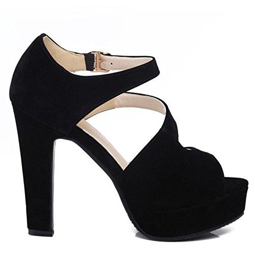 RAZAMAZA Mujer Correa Tobillo Zapatos Plataforma Peep Toe Tacones Ancho Sandalias Negro