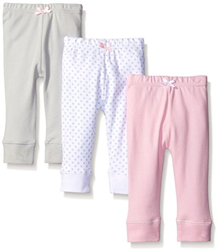 Luvable Friends Baby Girls' 3 Pack Tapered Ankle Pant