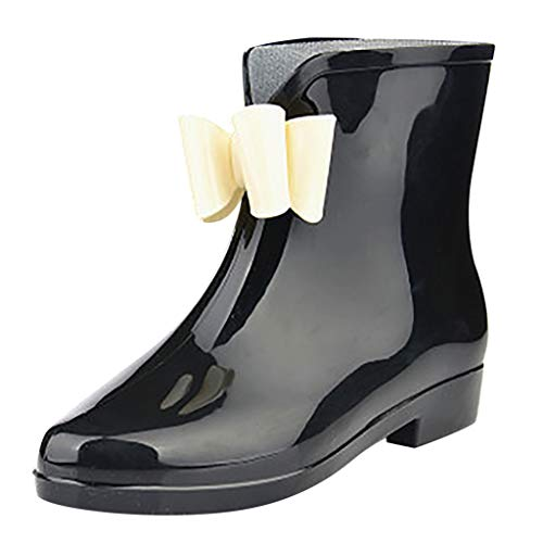 CCFAMILY Women's Rain Boots Wedges Short Tube Rain Boots Non-Slip Waterproof Water Shoes Black ()