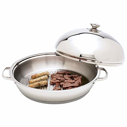 """Chef KTGRID2D Cookware 12-Element Surgical Stainless Steel Round Griddle, 13-1/4"""", Silver"""