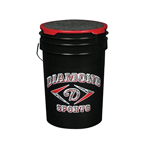 Diamond Sports 6 Gallon Ball Bucket With Lid Black