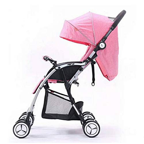 Baby Trolley Light Aluminum Alloy Four-Wheeled Cart Three Folding Backpack Pram Pink