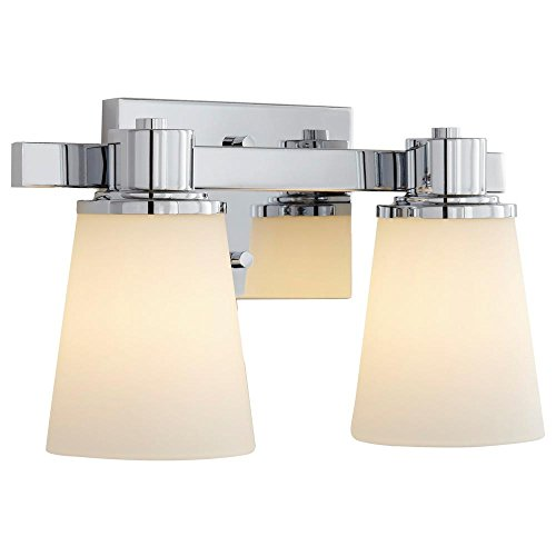 (Home Decorators Collection 2-Light Chrome Bath Vanity Light with Bell Shape Etched White Glass)