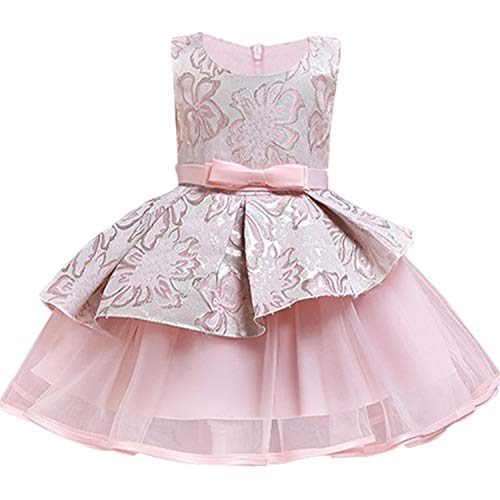 Flower Tutu Kids Clothing Satin Elegant Lace Sleeveless Girls Dresses for Children Princess Party Costumes 3 4 6 8 10 12 Years,Beige,7]()