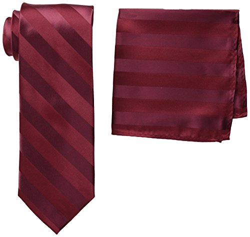 Stacy Adams Men's Solid Woven Formal Stripe Tie Set, Burgundy, One Size Burgundy Stripe