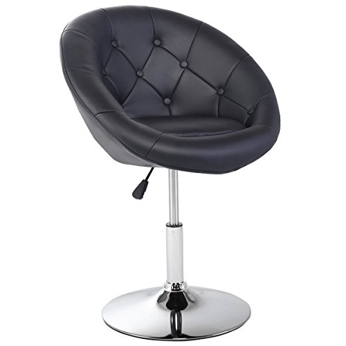 Costway Swivel Accent Chair Tufted Round-Back Tilt Chrome Contemporary Round (Tufted Arc)