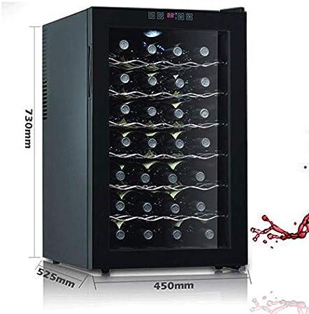Refrigerador Independiente - Enfriador termoeléctrico de Vino Tinto y Blanco de 28 Botellas/Enfriador de mostrador Bodega con Pantalla Digital de Temperatura