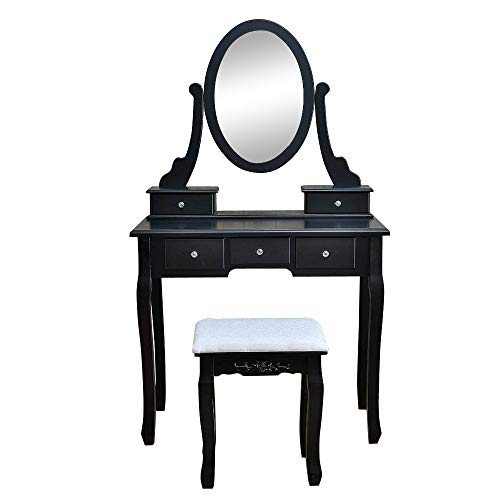 Vanity Table Set with 360°Rotation Mirror, 5 Drawers Makeup Table, Dressing Table with Dressing Stool(Black) ()