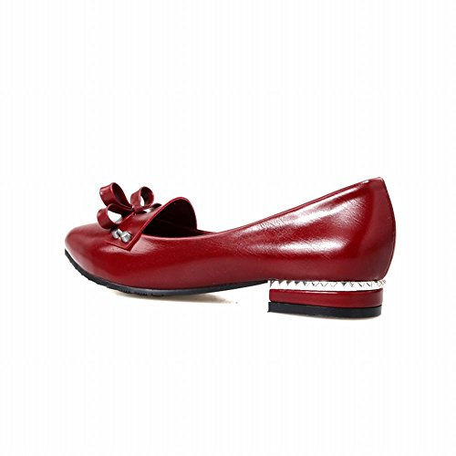 Fashion Womens Heel Dark Low Casual Bow toe Red Latasa Pumps Pointed Chunky 67qwHH