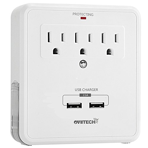 Multi Wall Mount Outlet Surge Protector with 2 (2.1A) USB Charging Ports,Oviitech Wall Charger Adapter,3 AC Power Outlet and 2 Slide Out Phone Holders, Home/Office Wall Tap