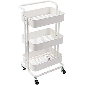 hollyhome 3 tier rolling cart metal utility cart with handles art cart bathroom. Black Bedroom Furniture Sets. Home Design Ideas