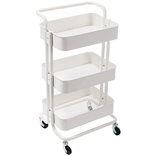 DOEWORKS Storage Cart 3 Tier Metal Utility Cart Rolling Organizer Cart with Wheels Art Cart White