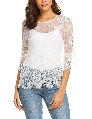 Dealwell Women Scalloped Trim Sheer Blouse Bell Sleeve Floral Lace Top White