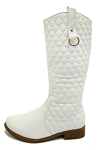 Zip Shoes Ladies Western Sizes White Knee Tall Up Biker Riding Cowboy 8 3 High Boots P0USz70Wnq
