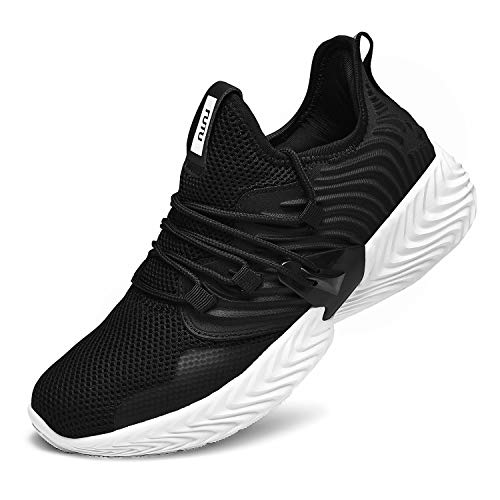 RELANCE Men's Running Shoes, Lightweight Casual Sneakers Workout Sport Athletic Shoes for Training Tennis Jogging Footwear, KX58 (8, Black)