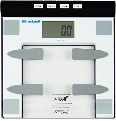Brecknell BFS-150 Digital Body Fat Bathroom Scale, 396 lb. Capacity, 12 User Memory, Easy to Clean Top, Large LCD, Glass Top by Brecknell